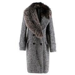 Ermanno Scervino Chevron Tweed Wool & Fur Coat S 42