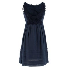 Ermanno Scervino Cotton Navy Lace Embroidered Dress - Size US 4