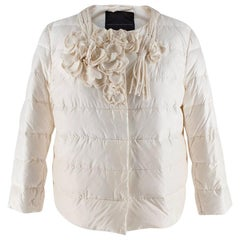 Ermanno Scervino Cream Floral Applique Collarless Puffer Jacket 40IT