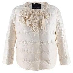 Ermanno Scervino Cream Floral Applique Collarless Puffer Jacket - Size US 4