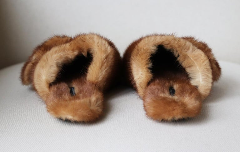 Brown Ermanno Scervino Crystal-Embellished Mink-Fur Slippers  For Sale