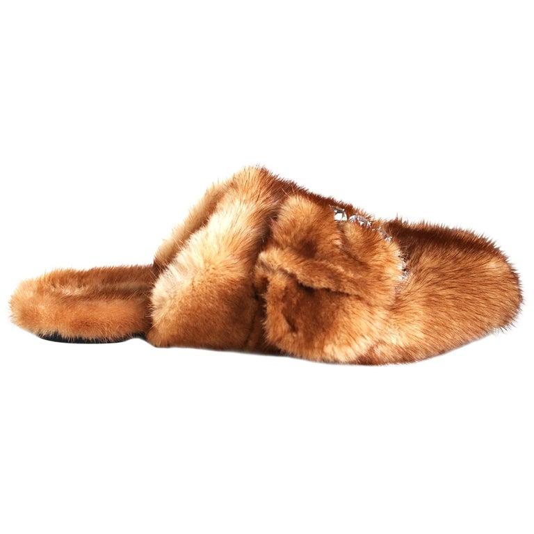 Ermanno Scervino Crystal-Embellished Mink-Fur Slippers  For Sale