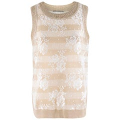 Ermanno Scervino Gold Floral Lace Striped Sleeveless Top estimated size M