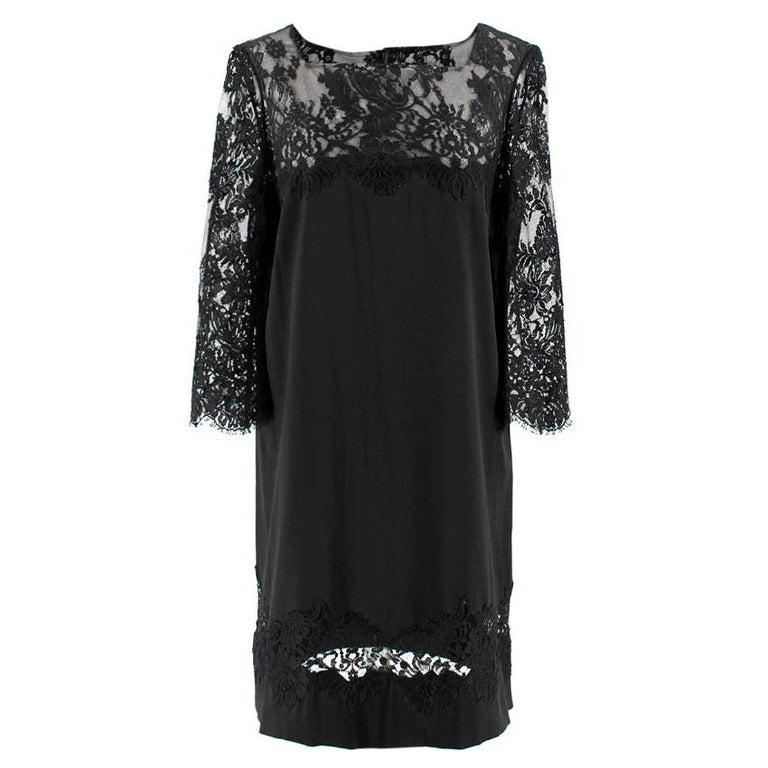 Ermanno Scervino lace-panelled black satin dress  - Black, lightweight duchess satin - Square neck, 3/4 length sleeves - Black floral lace yoke, sleeves and hem insert, scallop eyelash-lace edge  - Centre-back half rouleau button and concealed-zip