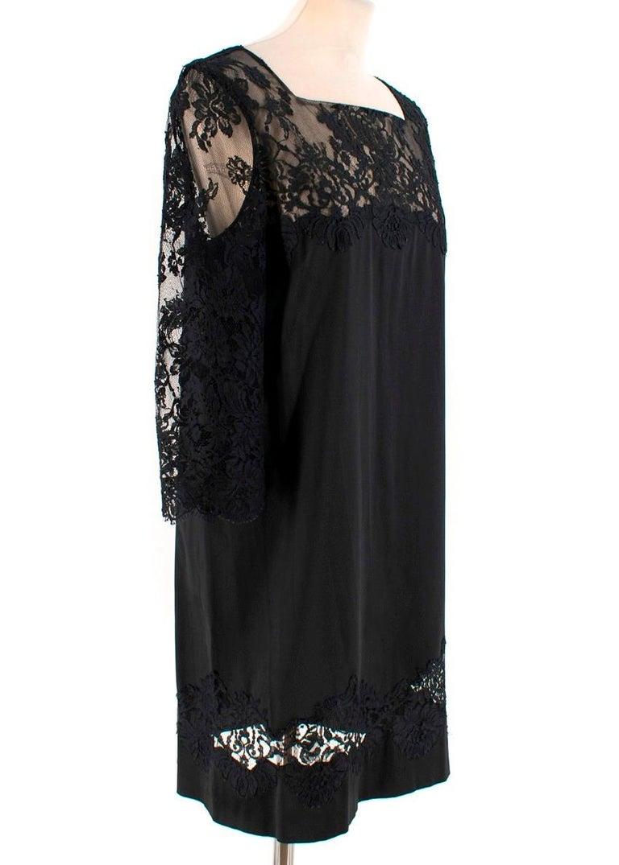 Black Ermanno Scervino lace-panelled black satin dress IT 44 For Sale