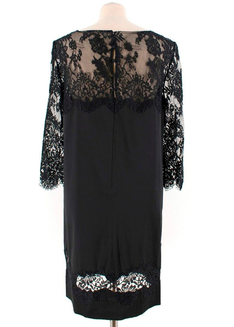 Ermanno Scervino lace-panelled black satin dress IT 44 In Excellent Condition For Sale In London, GB