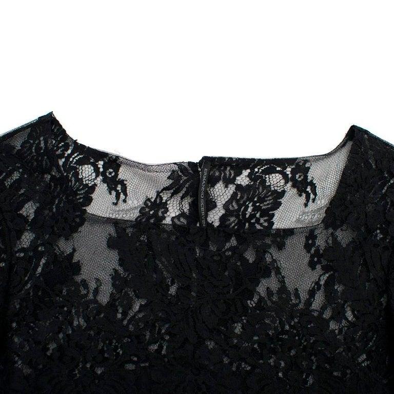 Women's Ermanno Scervino lace-panelled black satin dress IT 44 For Sale