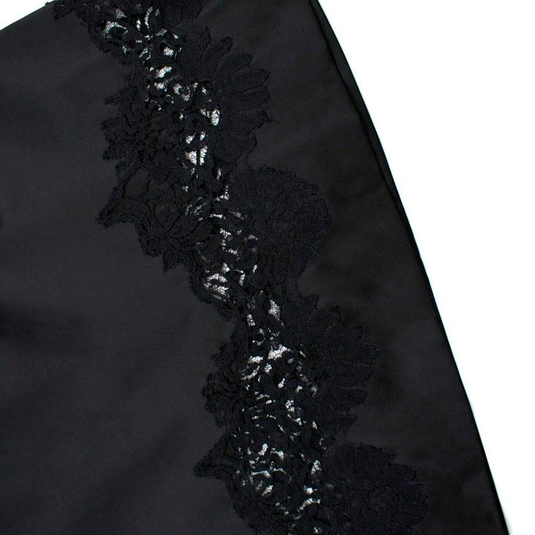 Ermanno Scervino lace-panelled black satin dress IT 44 For Sale 2