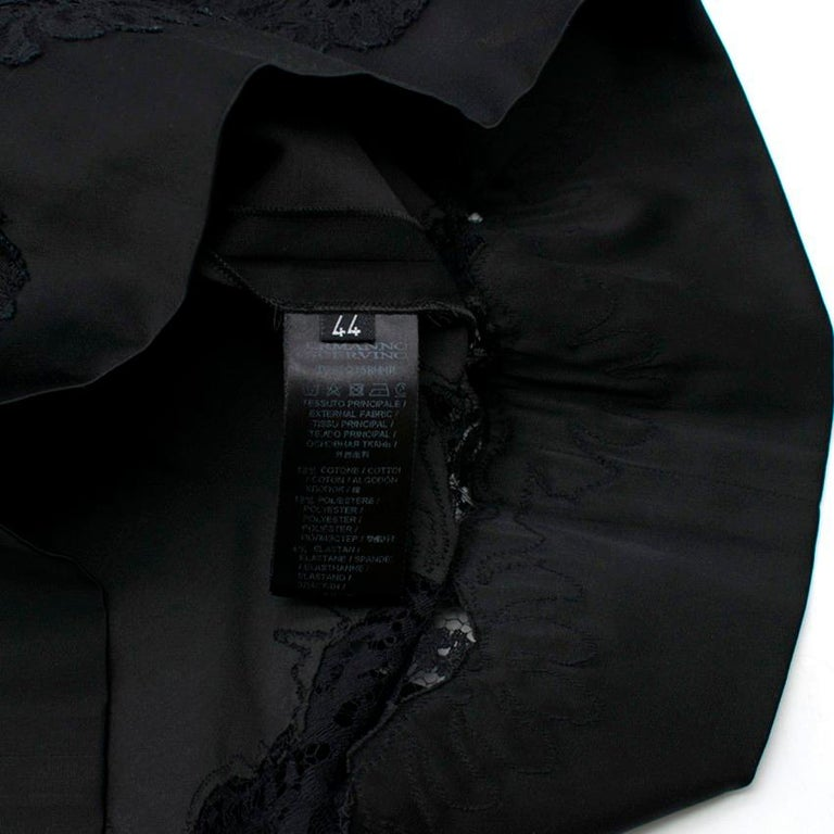 Ermanno Scervino lace-panelled black satin dress IT 44 For Sale 3