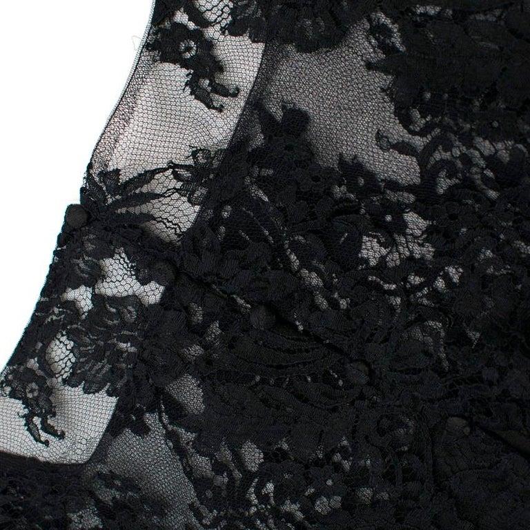 Ermanno Scervino lace-panelled black satin dress IT 44 For Sale 4