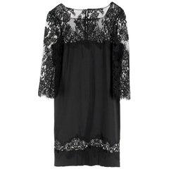 Ermanno Scervino lace-panelled black satin dress IT 44