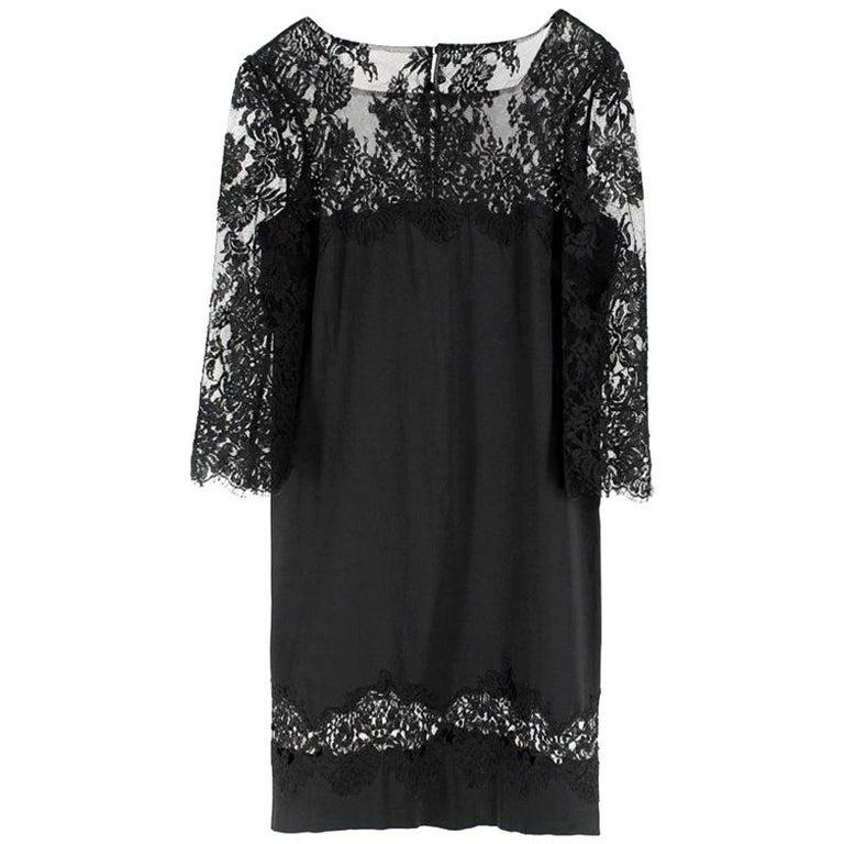Ermanno Scervino lace-panelled black satin dress IT 44 For Sale