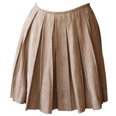 Ermanno Scervino Pleated Suede Mini Skirt