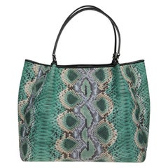 Ermanno Scervino Tote Bag in Python-style Green Canvas