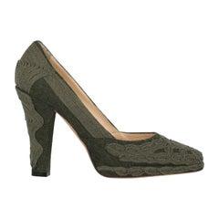 Ermanno Scervino Woman Pumps Green Wool IT 40