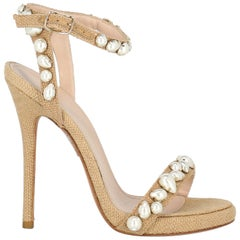 Ermanno Scervino Woman Sandals Beige Eco-Friendly Fabric IT 36