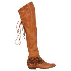 Ermanno Scervino Women  Boots Camel Color Leather IT 37
