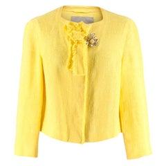 Ermanno Scervino Yellow Brooch Embellished Cropped Linen Jacket 40 IT