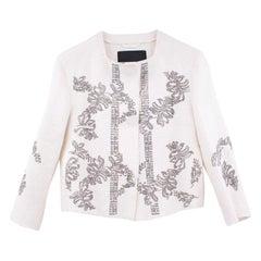 Ermano Scervino Linen Jacket With Crystal embelishements - Size US 2