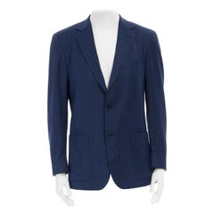 ERMENEGILDO ZEGNA 10 pocket jacket blue wool silk travel blazer jacket 50R L