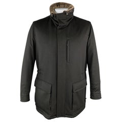 ERMENEGILDO ZEGNA 40 Black Cashmere Faux Fur Collar Detachable Hood Coat