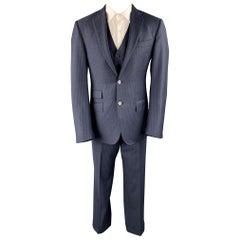 ERMENEGILDO ZEGNA 40 Regular Navy Stripe Wool Notch Lapel 3 Piece Suit