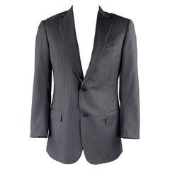 ERMENEGILDO ZEGNA 42 Long Navy & Black Pinstripe Wool Notch Lapel Suit