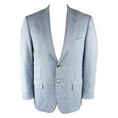 ERMENEGILDO ZEGNA 42 Regular Light Blue Cashmere Notch Lapel Sport Coat
