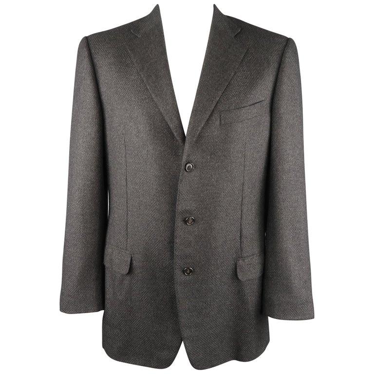 a0c772d280 ERMENEGILDO ZEGNA 44 Charcoal Heather Textured Cashmere 3 Button Sport Coat