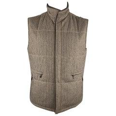 ERMENEGILDO ZEGNA 52 Taupe Pinstripe Leather Trimmed Reversible Vest