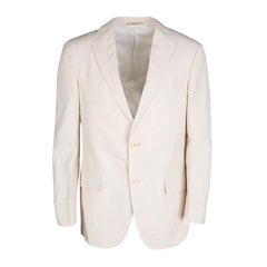 Ermenegildo Zegna Beige Pinstriped Linen Blend Regular Fit Blazer L