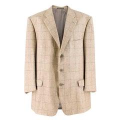 Ermenegildo Zegna Beige Silk & Cashmere-blend Check Blazer Size 54