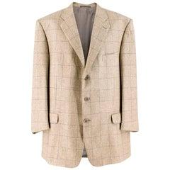 Ermenegildo Zegna Beige Silk & Cashmere-blend Check Blazer XXL Size EU 54