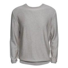 Ermenegildo Zegna Beige Silk Zig Zag Pattern Ribbed Trim Sweater L