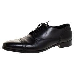Ermenegildo Zegna Black Brogue Leather Lace Up Oxford Size 43.5