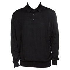 Ermenegildo Zegna Black Cashseta Light Ribbed Trim Collared Sweater XXL