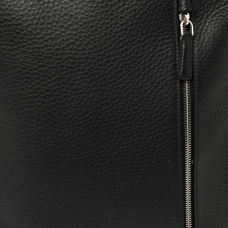 Ermenegildo Zegna Black Grained Leather Backpack 6