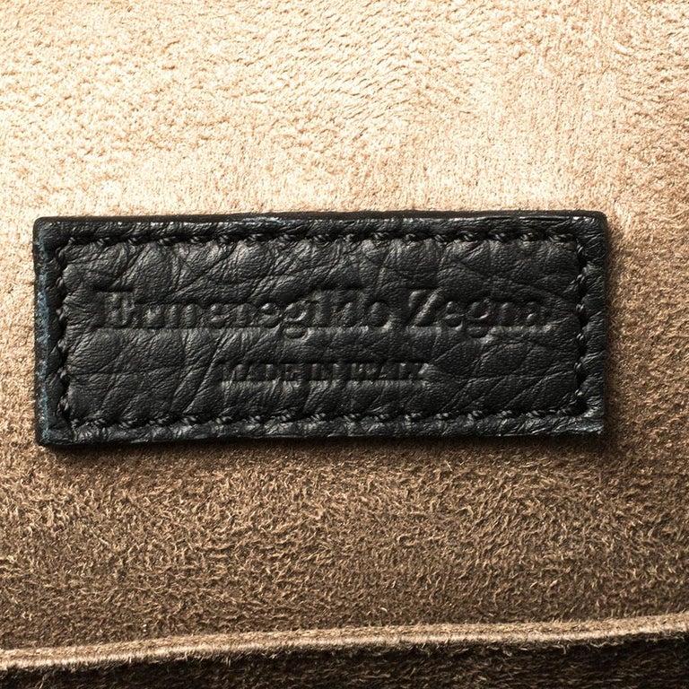 Ermenegildo Zegna Black Grained Leather Backpack 7