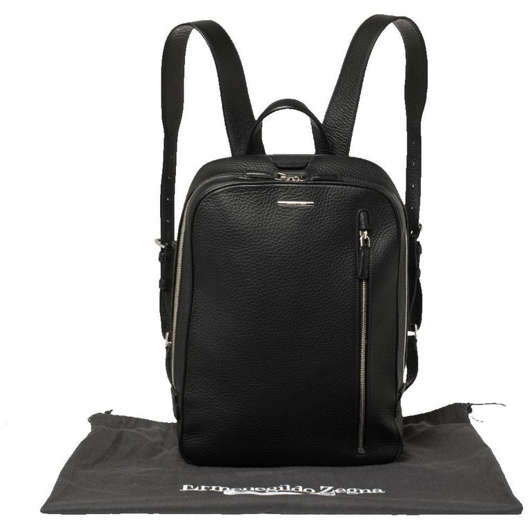 Ermenegildo Zegna Black Grained Leather Backpack 8