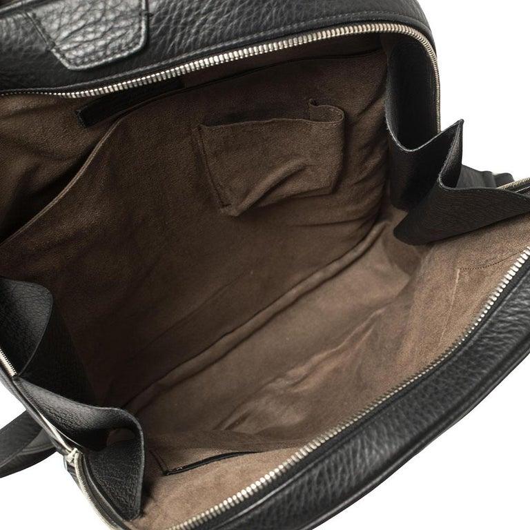 Ermenegildo Zegna Black Grained Leather Backpack 1