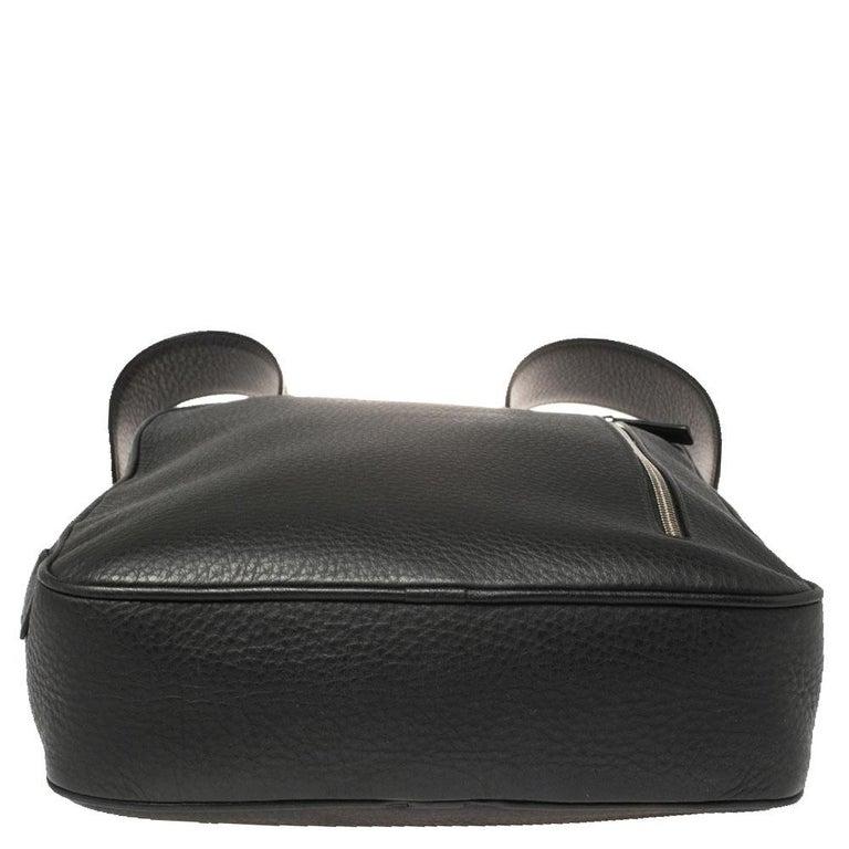 Ermenegildo Zegna Black Grained Leather Backpack 4