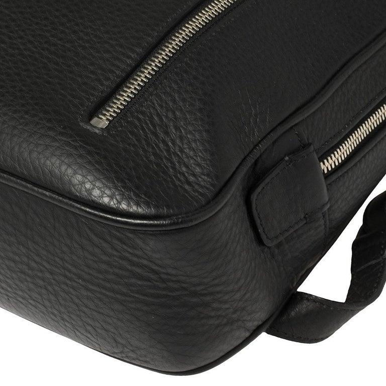 Ermenegildo Zegna Black Grained Leather Backpack 5