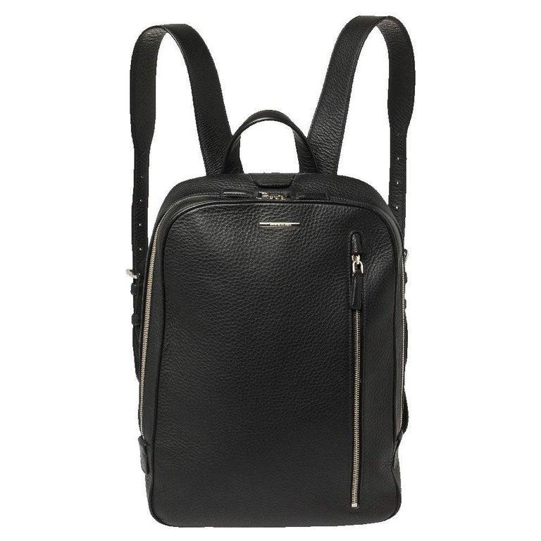 Ermenegildo Zegna Black Grained Leather Backpack