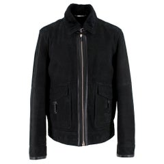 Ermenegildo Zegna Black Shearling Jacket Size 50