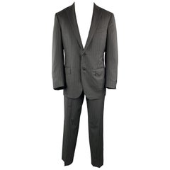 ERMENEGILDO ZEGNA Black Stripe Wool Notch Lapel 34 x 30 Suit