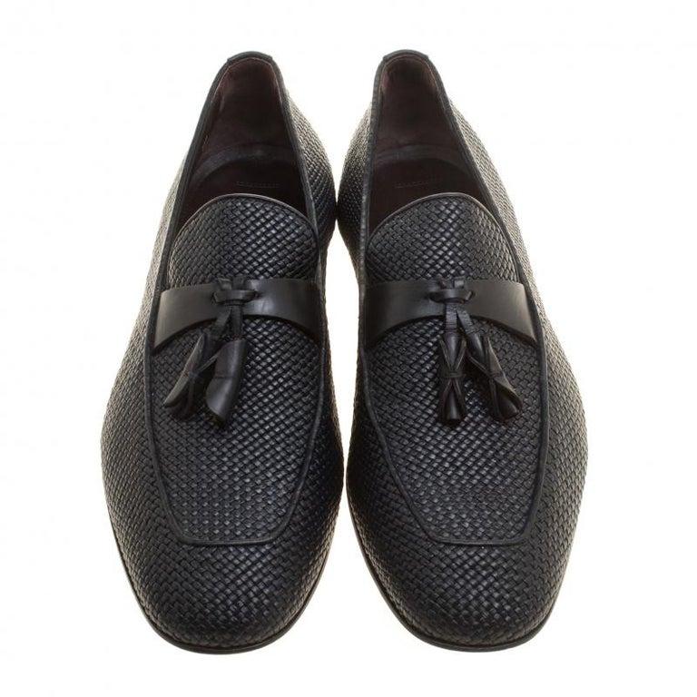Ermenegildo Zegna Black Woven Leather Lido Tassel Loafers