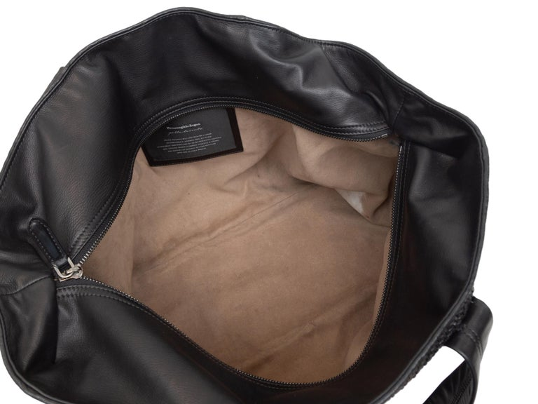 Ermenegildo Zegna Black Woven Leather Tote Bag In Good Condition For Sale In New York, NY