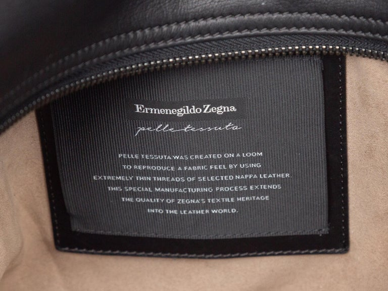 Women's Ermenegildo Zegna Black Woven Leather Tote Bag For Sale