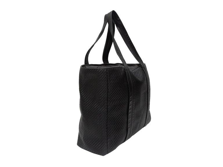 Ermenegildo Zegna Black Woven Leather Tote Bag For Sale 1