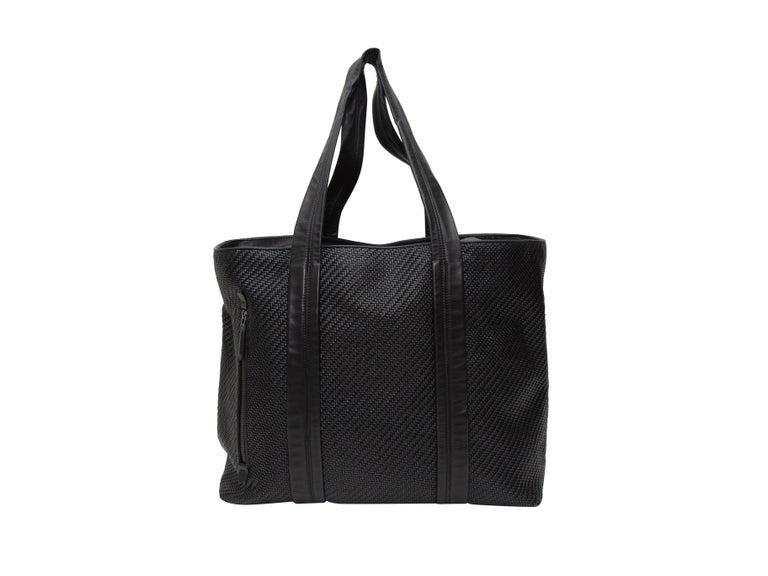 Ermenegildo Zegna Black Woven Leather Tote Bag For Sale 2